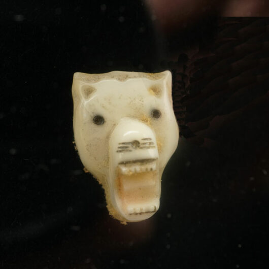 Vintage Eskimo Ivory Wolf Head