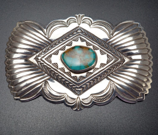Vintage Sterling Silver Turquoise Pin