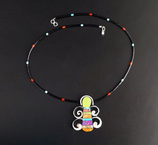 Mary Tafoya Gaspeite Butterfly Necklace