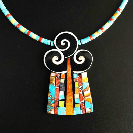 Mary Tafoya Three Swirl Necklace