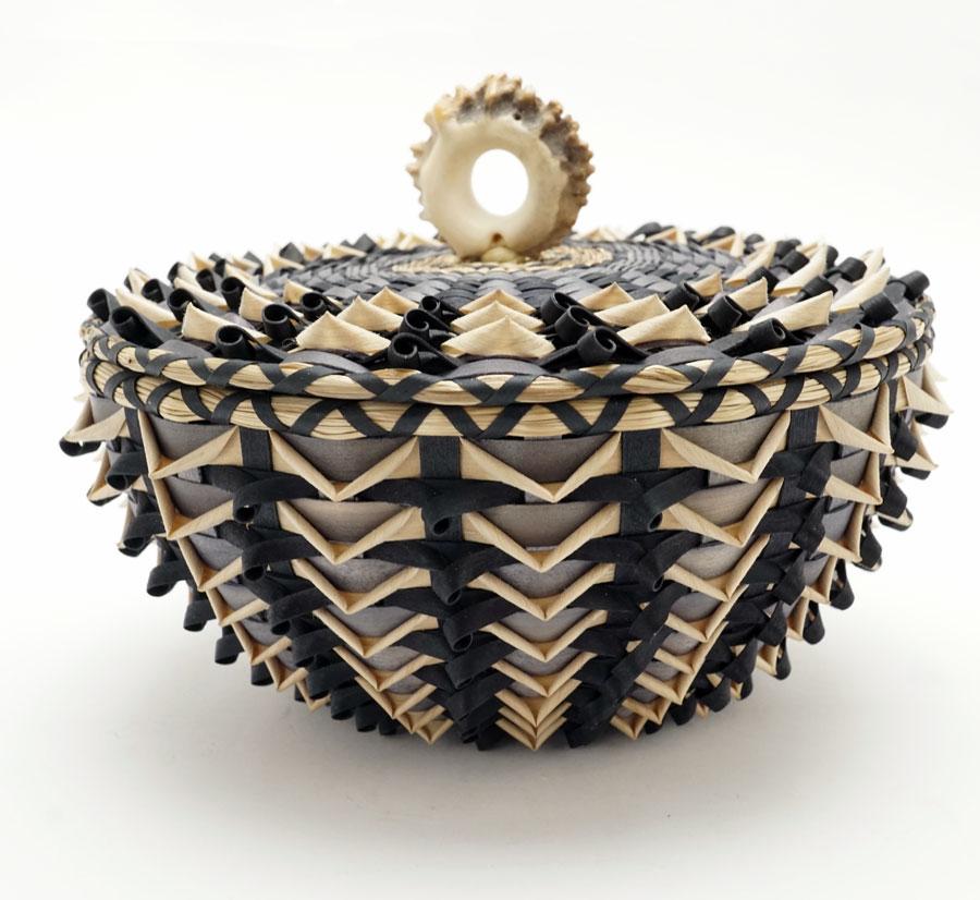 Sarah Sockbeson Grey Black Natural Urchin Point Basket