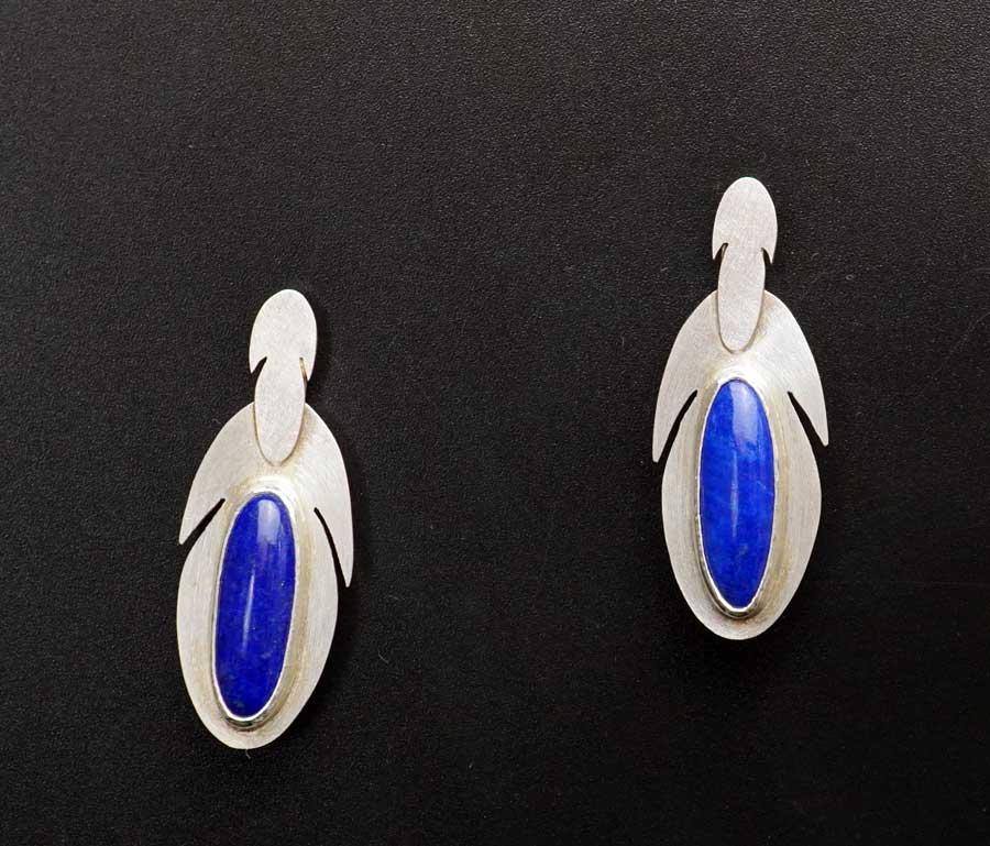 Amelia Joe-Chandler Double Feather Design Lapis Lazuli earrings