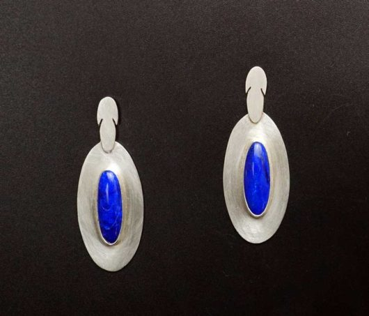 Amelia Joe-Chandler Feather Design Lapis Lazuli earrings