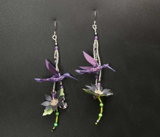 George Neptune Purple Bird Earrings