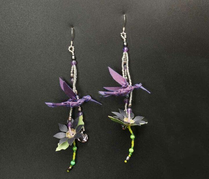 George Neptune Purple Bird Earrings