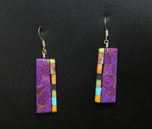 Mary Tafoya Sugilite Mosaic Earrings