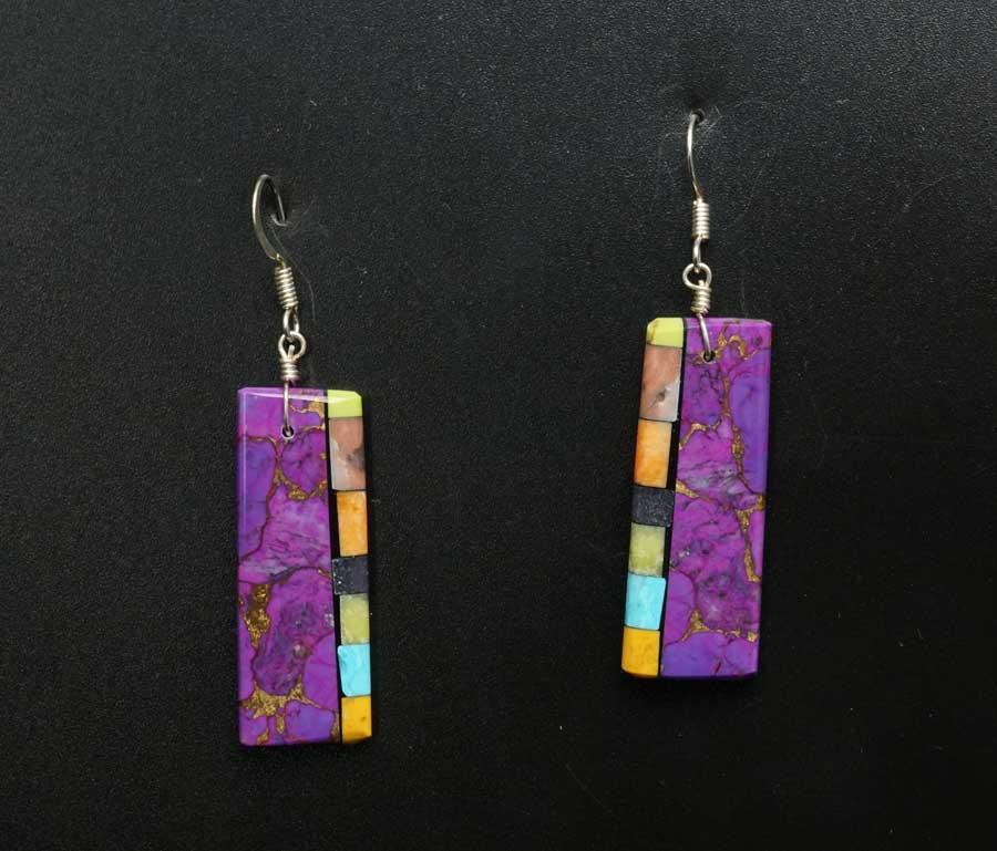 Mary Tafoya Sugilite Mosaic Earrings