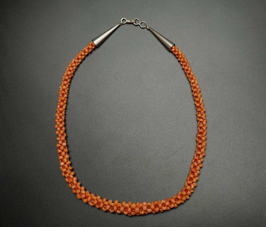 Vintage Woven Coral Necklace