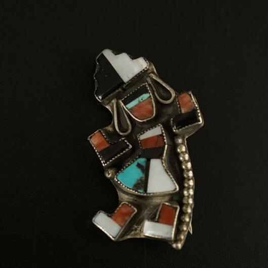 Vintage Silver Zuni Rainbow Dancer Pin 2