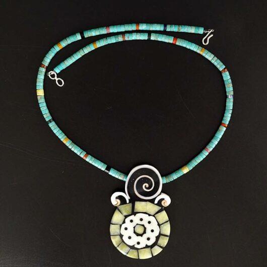 Mary Tafoya Yellow Serpentine Mosaic Necklace