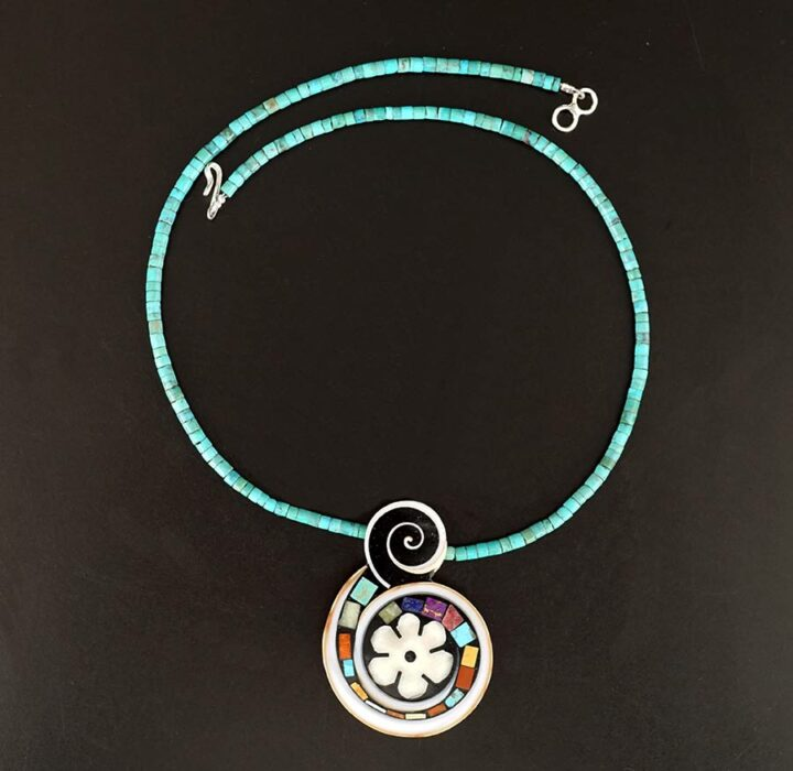 Mary Tafoya Flower Swirl Necklace