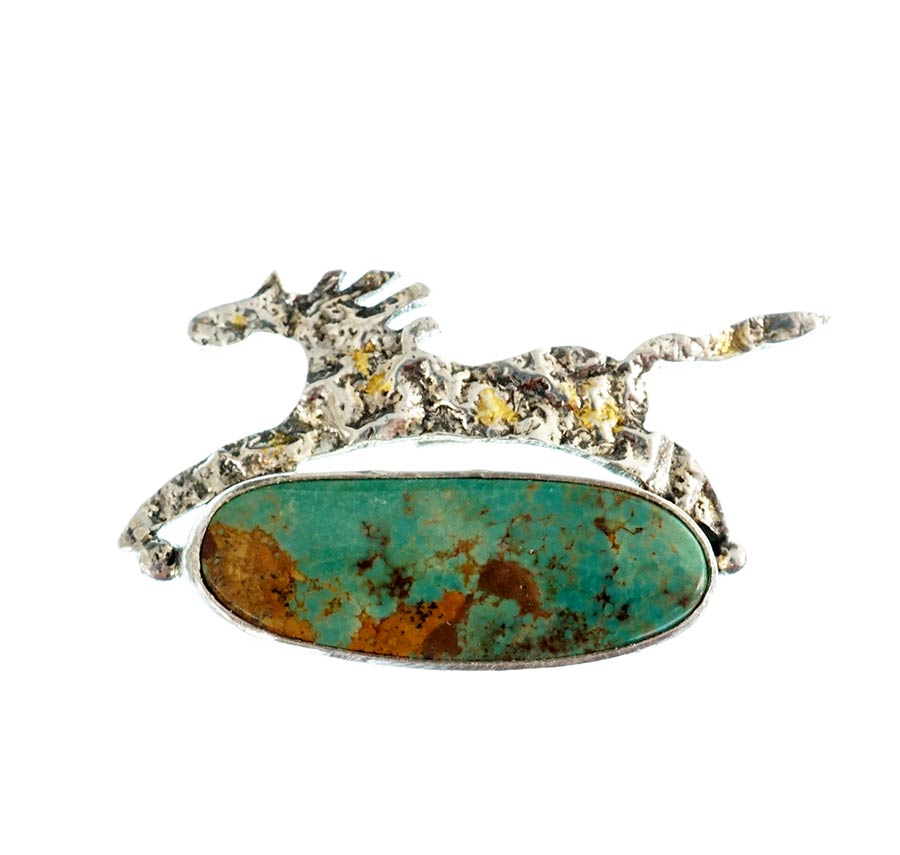 Cheryl Arviso Horse Pendant with Turquoise