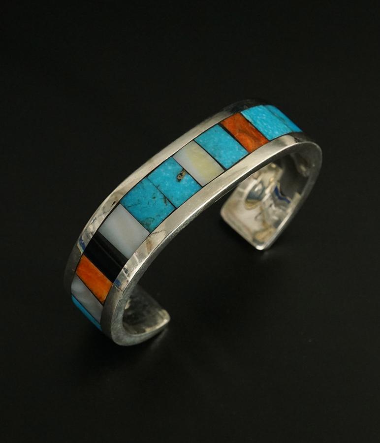 Lorenzo Tafoya Native American Jewelry Sterling Silver Mosaic Bracelet