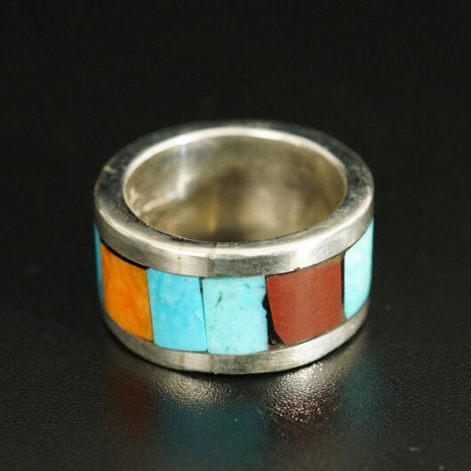 Lorenzo Tafoya Native American Jewelry Sterling Silver Mosaic Ring