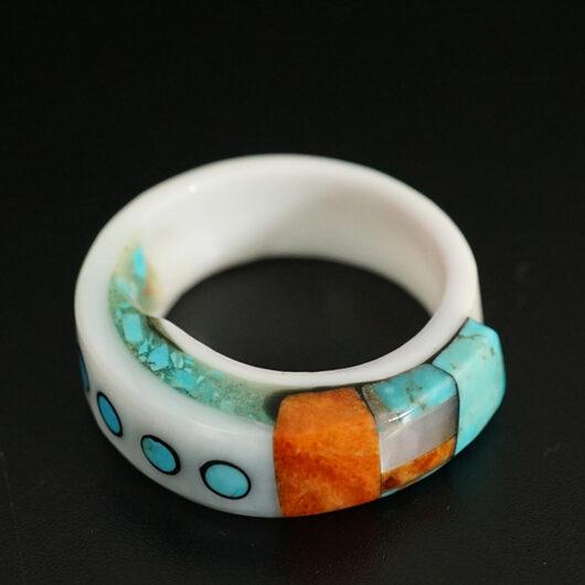 Lorenzo Tafoya Native American Jewelry Mosaic Shell Ring