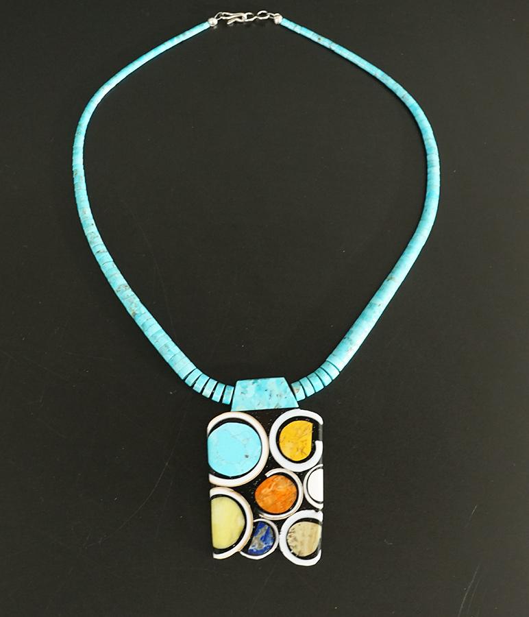 Mary Tafoya Native American Jewelry Santo Domingo Mosaic Circles Necklace