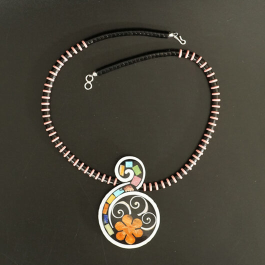 Mary Tafoya Native American Jewelry Santo Domingo Mosaic Flower Swirl Necklace