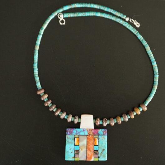 Mary Tafoya Native American Jewelry Santo Domingo Mosaic Necklace