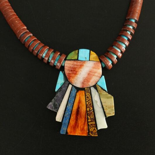 Mary Tafoya Native American Jewelry Santo Domingo Mosaic Angel Necklace