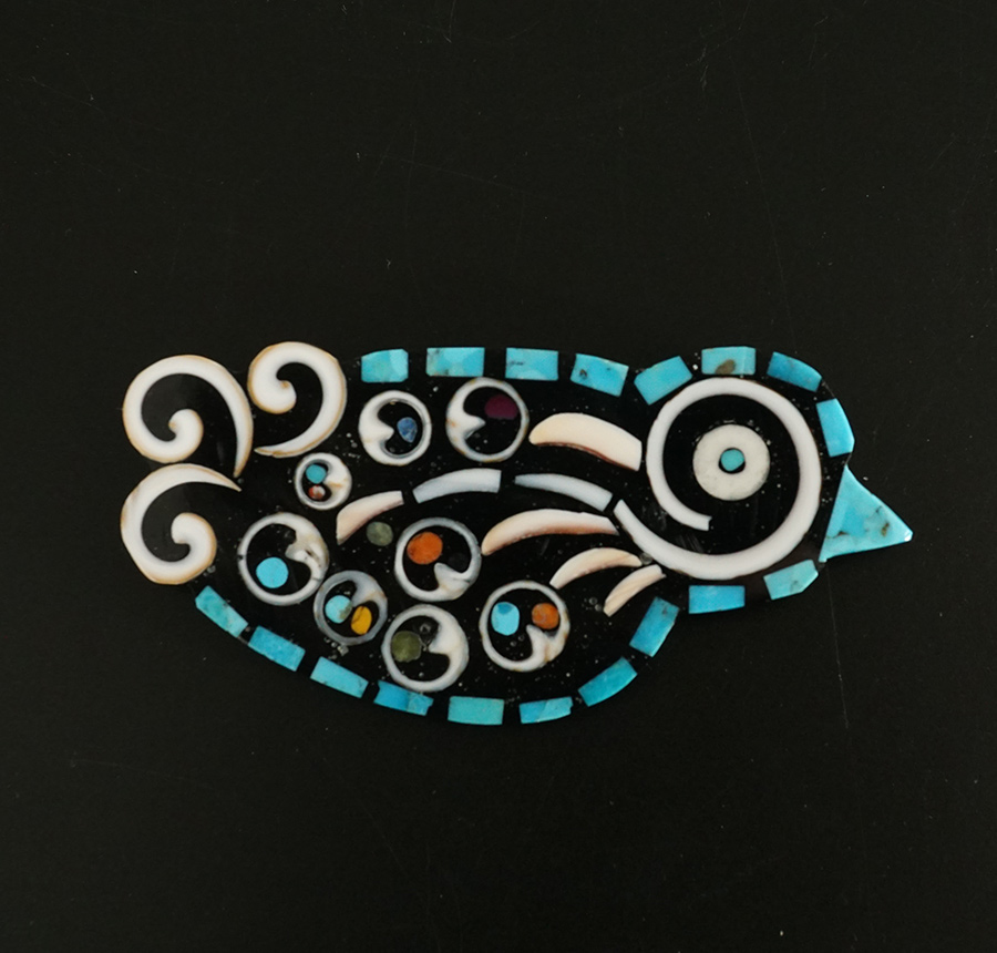 Multi-colored mosaic bird pin-pendant