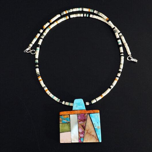 Mary Tafoya Native American Jewelry Santo Domingo Mosaic Necklace 2