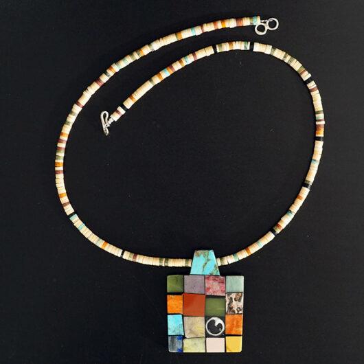 Mary Tafoya Native American Jewelry Santo Domingo Mosaic Singular Necklace
