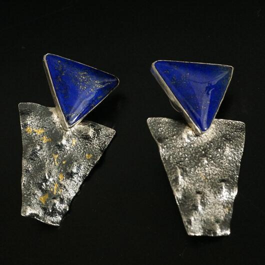 Navajo Artist Cheryl Arviso Sterling Silver Lapis Lazuli Earrings