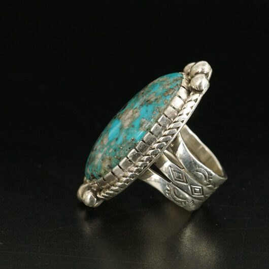 Sterling Silver Navajo Artist Cheryl Arviso Morenci Turquoise Ring