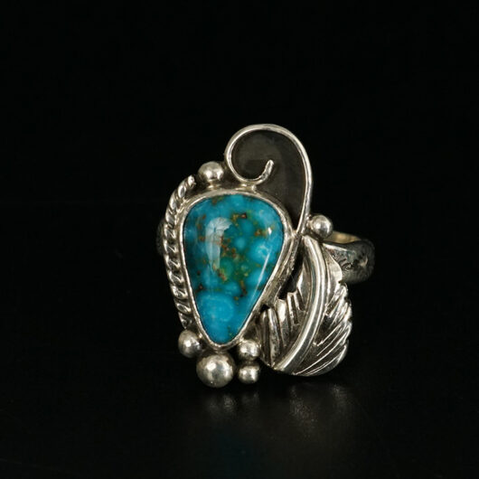 Sterling Silver Navajo Artist Cheryl Arviso Turquoise Mountain Ring