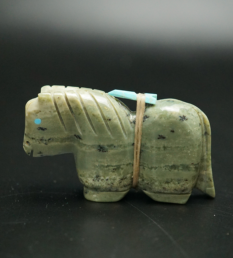 Tim Lementino Zuni Fetishes Green Argite Horse