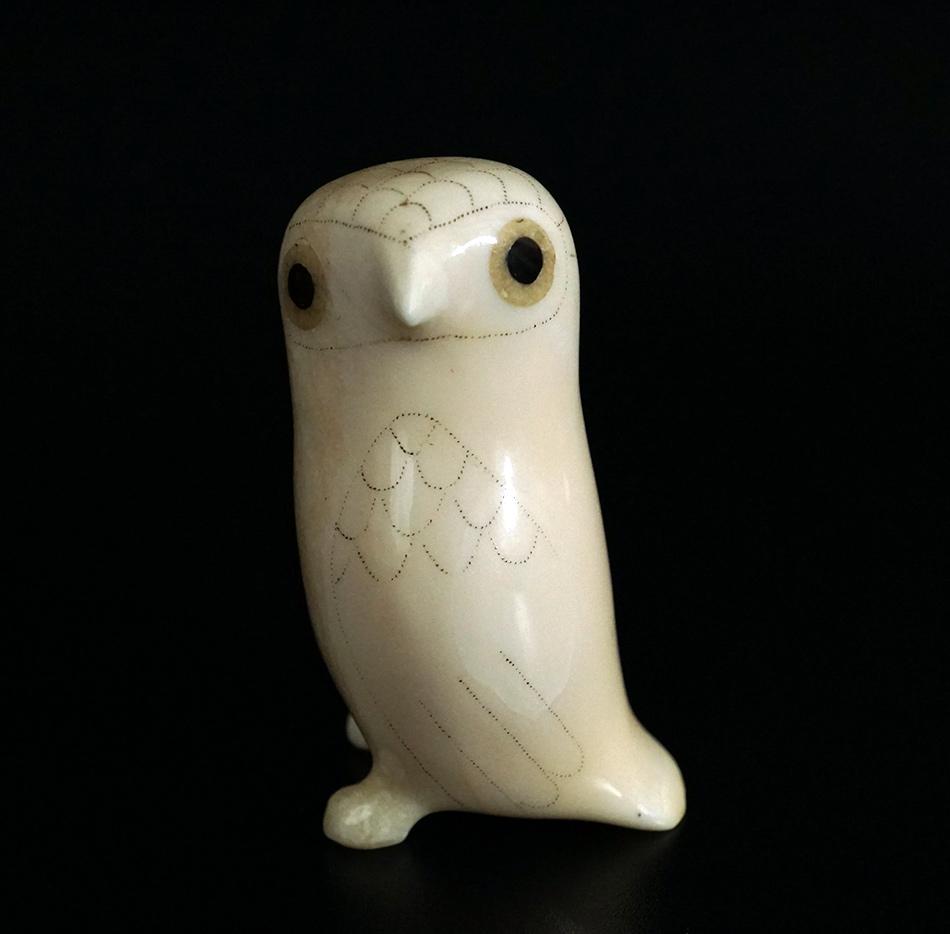 Native Alaskan Eskimo Daniel Ungott Vintage Carved Owl