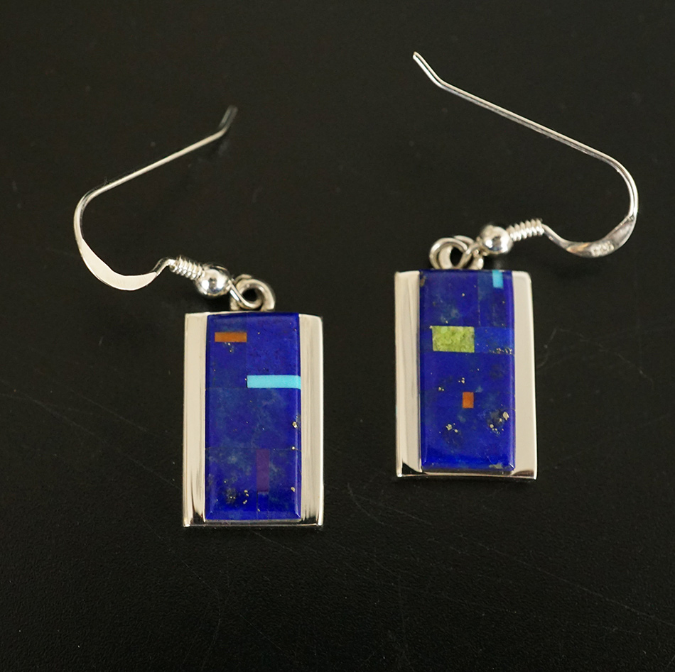 Navajo Artist Earl Plummer Native American Jewelry Inlaid Lapis Lazuli Earrings
