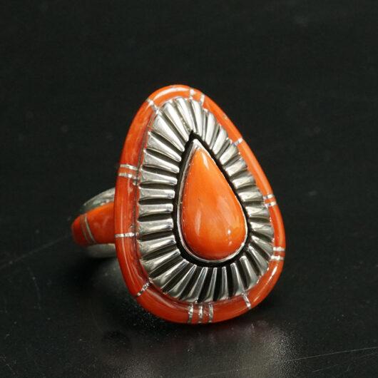 Navajo Jewelry Earl Plummer Mesa Design Coral Ring