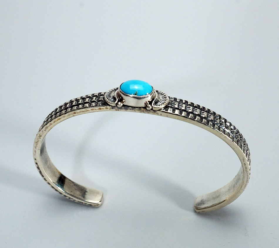 Navajo Artist June Delgarito Sterling Silver Bracelet with Turquoise