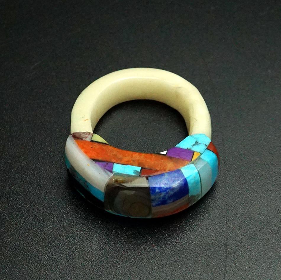 Lorenzo Tafoya Native American Jewelry Santo Domingo Mosaic Bone Ring