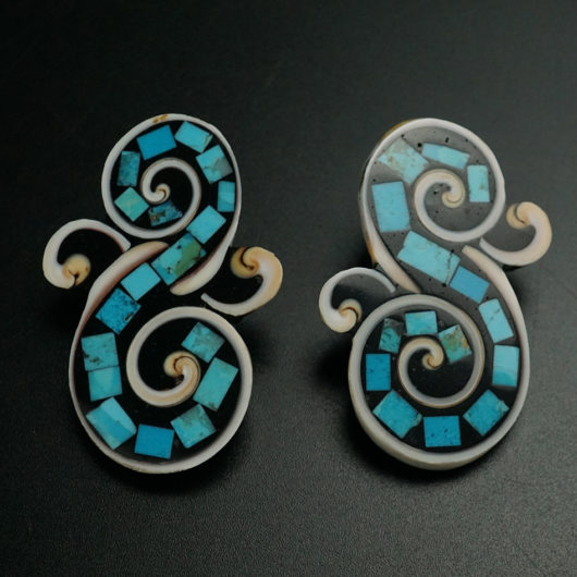Mary Tafoya Mosaic Turquoise Shell Santo Domingo Swan Earrings