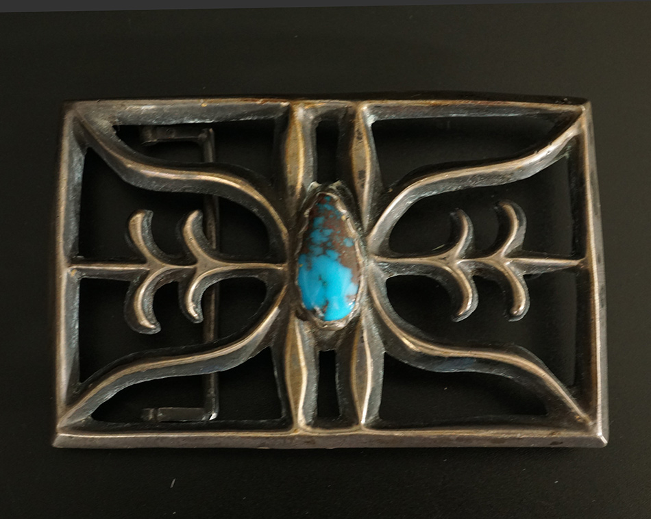 Native American Cast Silver Navajo Buckle Turquoise