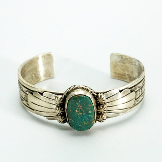 Native American Jewelry Sterling silver bracelet with Royston turquoise Navajo artist Betta Lee