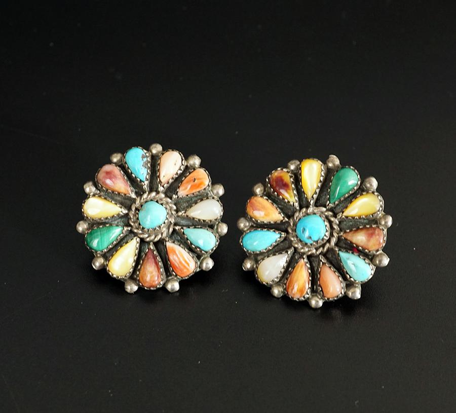 Vintage Native American Jewelry Zuni Cluster Earrings Phyllis Coonsis