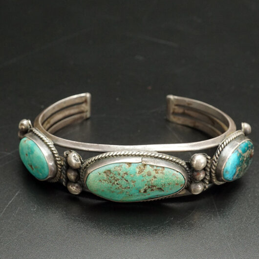 Native American Navajo Bracelet with Three Turquoise Cabochons