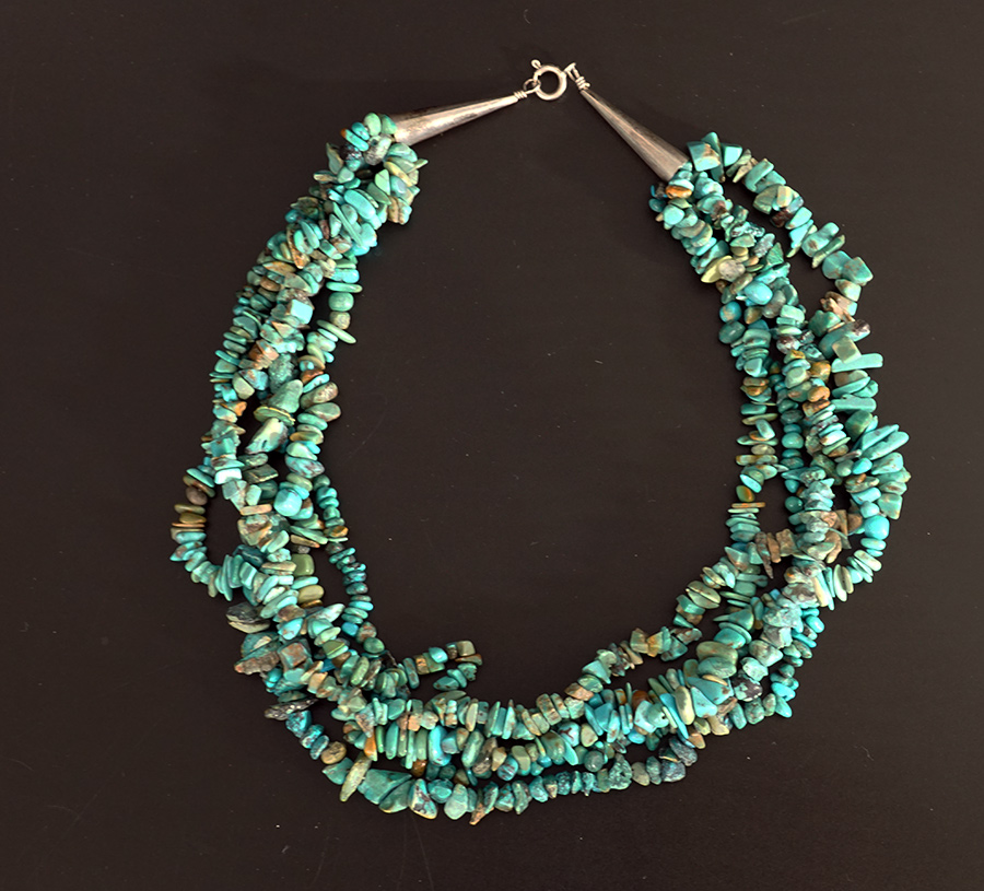 Native American Jewelry Vintage Navajo 5 Strand Turquoise Nugget Necklace