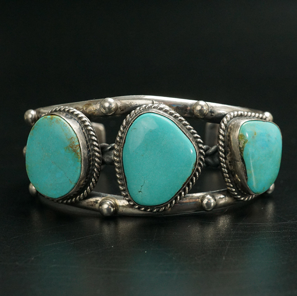 Vintage Sterling Silver Navajo Jewelry Bracelet with 3 Turquoise Stones