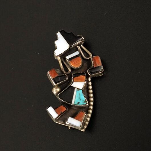 Vintage Native American Jewelry Silver Zuni Rainbow Dancer Pin