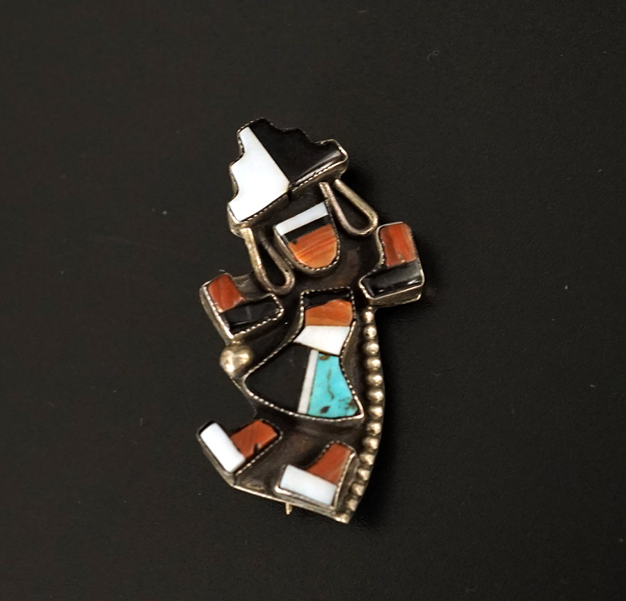 Vintage Native American Jewelry Silver Zuni Rainbow Dancer Pin