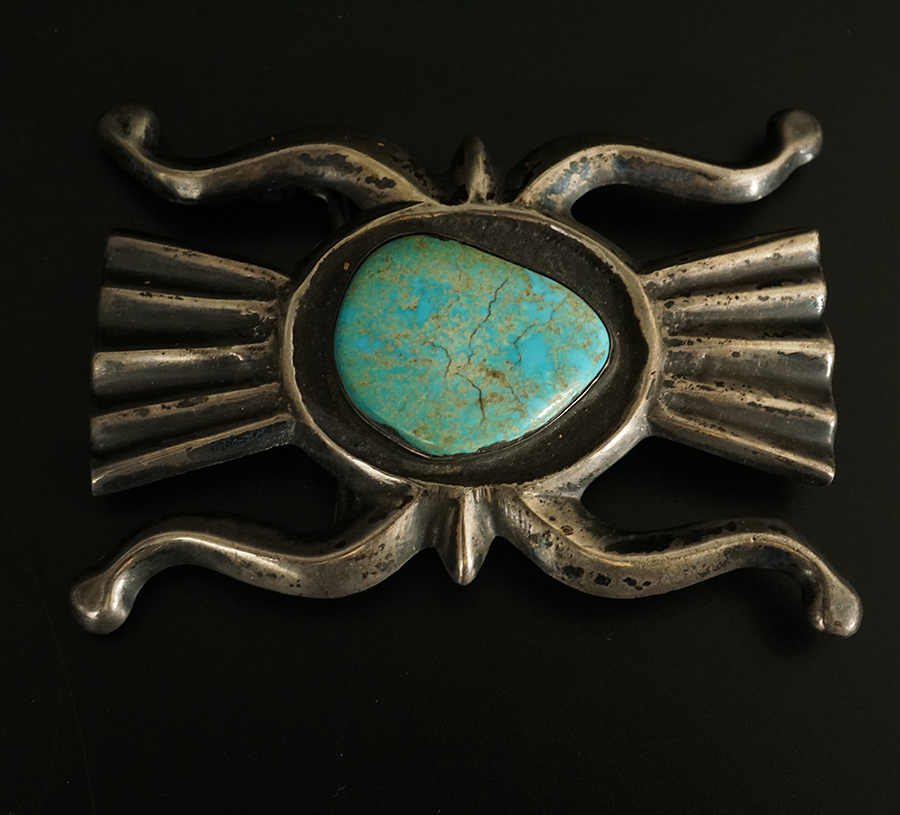Native American Sand Cast Silver Navajo Belt Buckle Turquoise Cabochon A ca. 1960s sand cast silver belt buckle with a turquoise cabochon