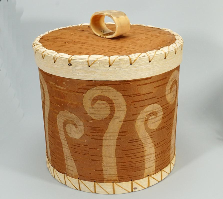 Aron Griffith Native American Large Birch Bark Basket Maliseet Art