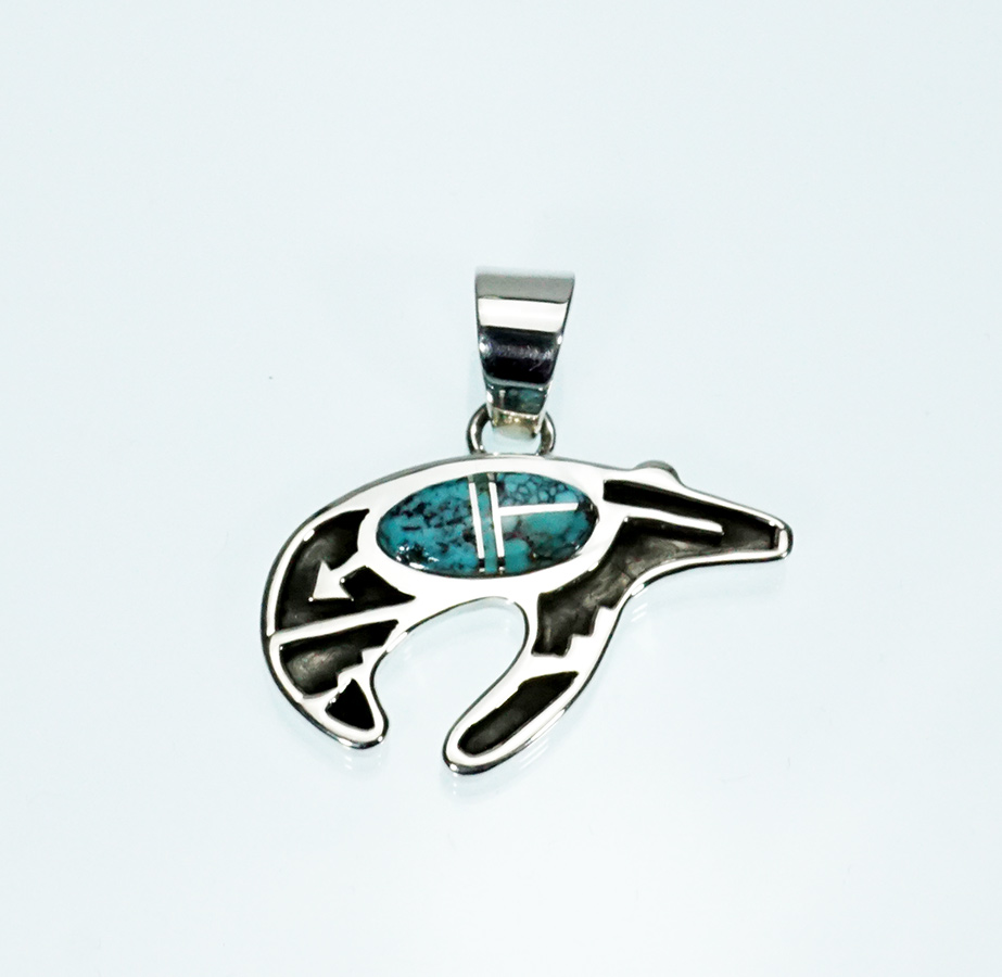 Navajo Jewelry Dallen Plummer Sterling Silver Overlay Bear Natural Inlaid Turquoise