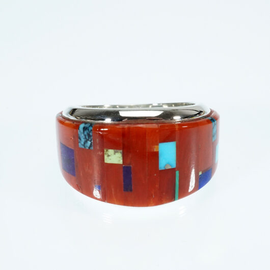 Native American Jewelry Earl Plummer Cerulean Style Coral Inlay Ring