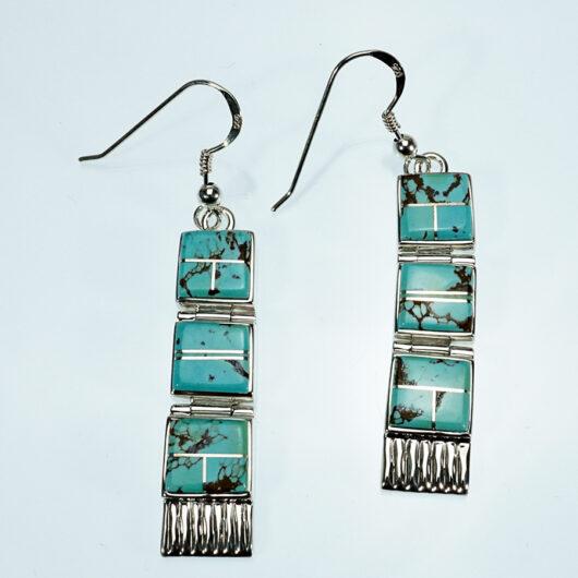 Natural Turquoise Hinged Earrings Earl Plummer Native American Jewelry