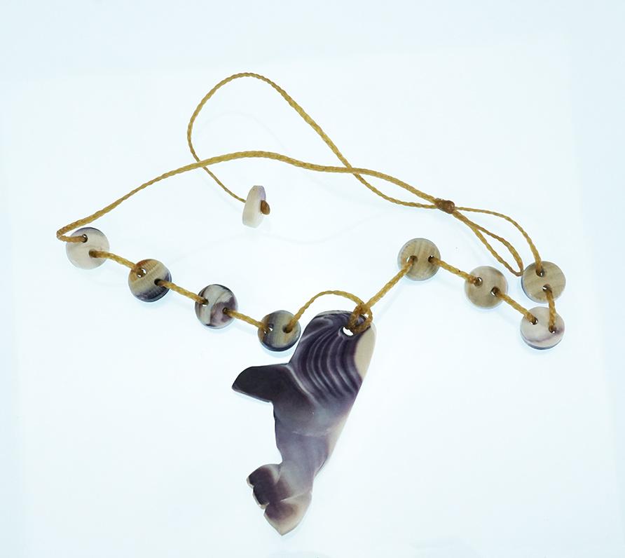 Carved Wampum Killer Whale Necklace Wampanoag Artist Elizabeth James-Perry